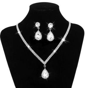 Silver Waterdrop Necklace Set